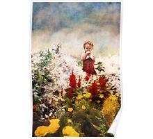 Little Girl Walking Among Flowers Poster
