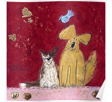 Big yellow dog and little white cat. Poster