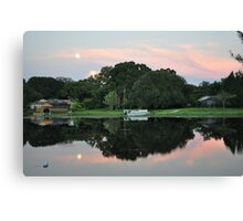 Reflection, Moon and Pink Clouds  Canvas Print
