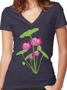 Pink color water lily flower Women's Fitted V-Neck T-Shirt