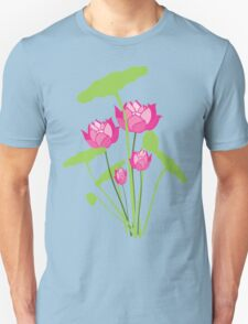 Pink color water lily flower T-Shirt