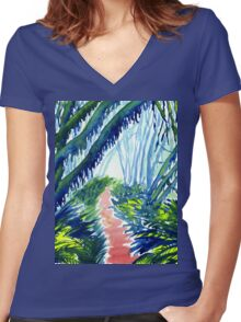 Watercolour of Forest with Hanging Moss Women's Fitted V-Neck T-Shirt
