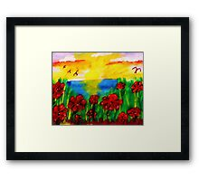 Looking past th flowers at the sunset, watercolor Framed Print
