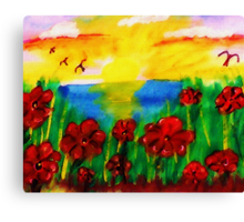 Looking past th flowers at the sunset, watercolor Canvas Print