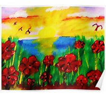 Looking past th flowers at the sunset, watercolor Poster