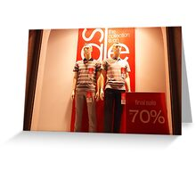 Two male mannequin in a showcase Greeting Card