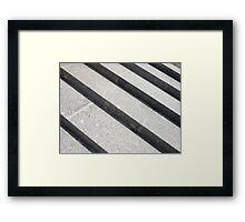 Overhead view closeup of gray marble steps Framed Print