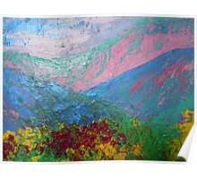 landscape-pink mountains Poster