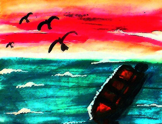 A beautiful day is over, watercolor by Anna  Lewis, blind artist