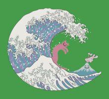 Psychodelic Bubblegum Kunagawa Surfer Cat Kids Tee