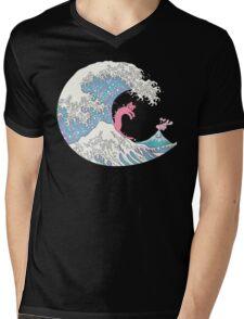 Psychodelic Bubblegum Kunagawa Surfer Cat Mens V-Neck T-Shirt