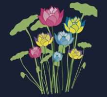 Colorful water lily flowers Kids Tee