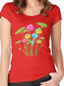 Colorful water lily flowers Women's Fitted Scoop T-Shirt