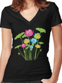 Colorful water lily flowers Women's Fitted V-Neck T-Shirt