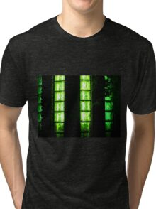 Decorative wall with green lights at night Tri-blend T-Shirt