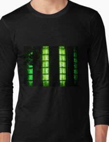 Decorative wall with green glowing at night Long Sleeve T-Shirt