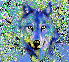 Wolf Oil Painting by Saundra Myles