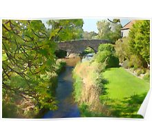 Stream and Bridge at Aldbrough St John, Richmond Poster