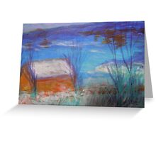 seascape-winter seaside house Greeting Card