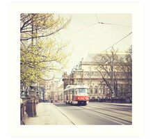 red tram ii, prague Art Print