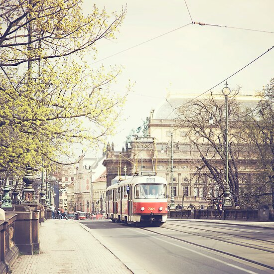 red tram ii, prague by Natasha Calhoun