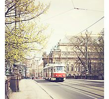red tram ii, prague Photographic Print