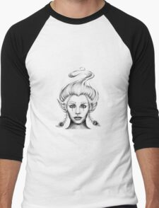 Girl with Peacock Feather Earrings Men's Baseball ¾ T-Shirt