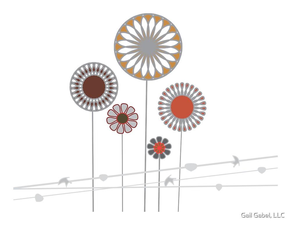 Retro Vintage Flower Art by Gail Gabel, LLC