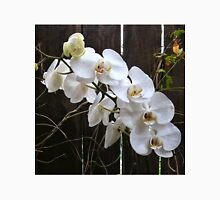 White orchid near dark fence Unisex T-Shirt
