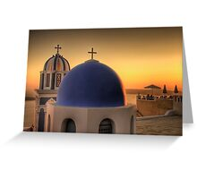 Orange Sunset in Santorini Greeting Card