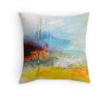 Yellow Blue Abstract Art Print Throw Pillow