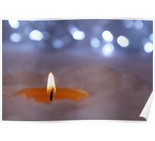 Gentle candle and christmas light Poster