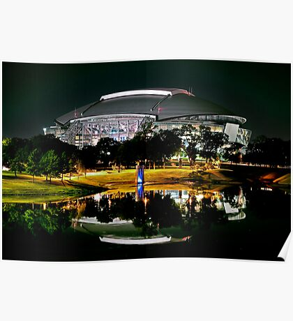 Cowboys Stadium by night Poster