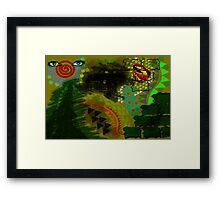 Composition Eiffel, Cadillac, Bird and lips Framed Print
