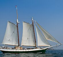 Schooner Liberty Clipper off Eastern Point by Steve Borichevsky