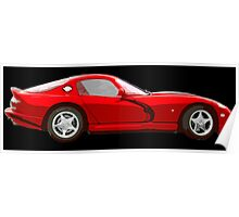 Dodge viper red _edited version cartoon Poster