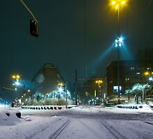 snow fall night scene by ninesmith33