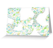 Geometric landscape green ochre drawing Greeting Card