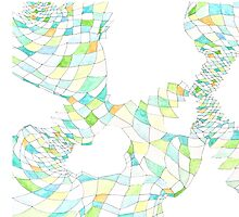Geometric landscape green ochre drawing by BellaBark