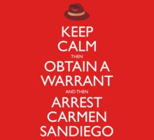 Carmen Sandiego Keep Calm Tribute Kids Clothes