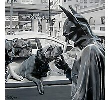 Two Dogs Wearing Sunglasses and Some Guy in a Batman Costume Photographic Print