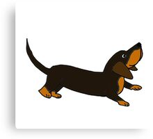 Playful Crouching Dachshund Puppy Dog Original Art Canvas Print