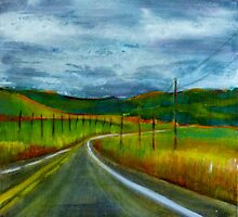 Road Trip, mixed media on canvas by Sandrine Pelissier