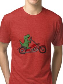 Cool Funny T-Rex Dinosaur Riding Red Motorcycle Tri-blend T-Shirt