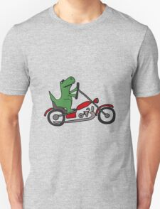 Cool Funny T-Rex Dinosaur Riding Red Motorcycle T-Shirt