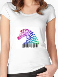 Creative horse bar code pattern Women's Fitted Scoop T-Shirt