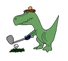 Cool Funky Green T-Rex Dinosaur Playing Golf by naturesfancy