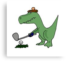 Cool Funky Green T-Rex Dinosaur Playing Golf Canvas Print