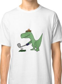 Cool Funky Green T-Rex Dinosaur Playing Golf Classic T-Shirt