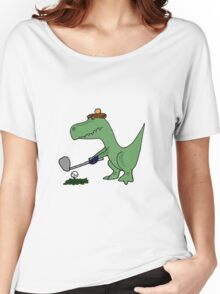 Cool Funky Green T-Rex Dinosaur Playing Golf Women's Relaxed Fit T-Shirt